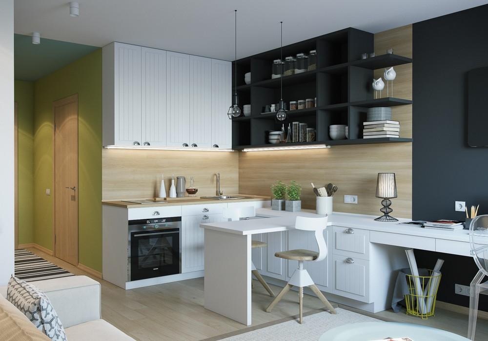 Деревянная отделка в интерьере маленькой квартиры