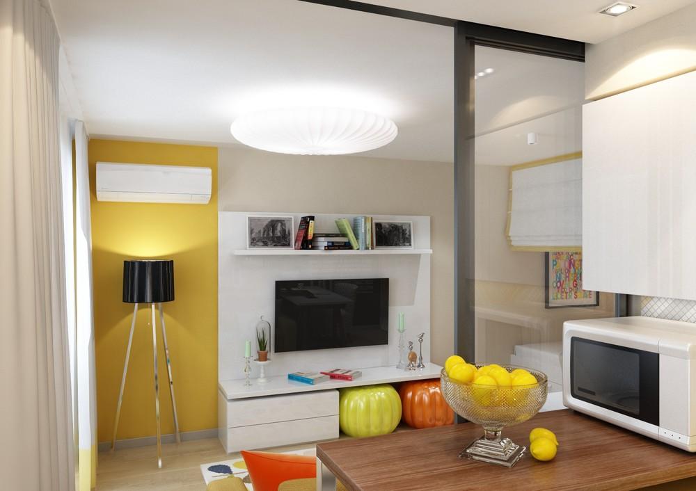 Яркие аксессуары в интерьере маленькой квартиры