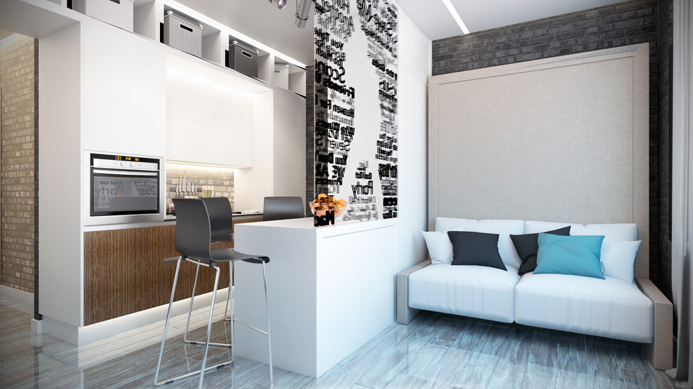 Стильный дизайн интерьера маленькой квартиры