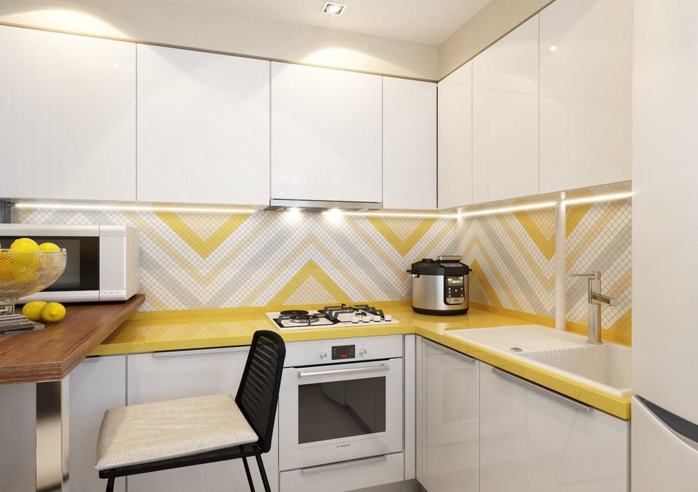 Геометрические полоски в интерьере кухни