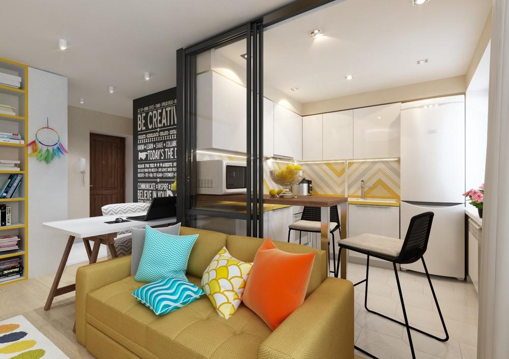 Прозрачная стена между гостиной и кухней
