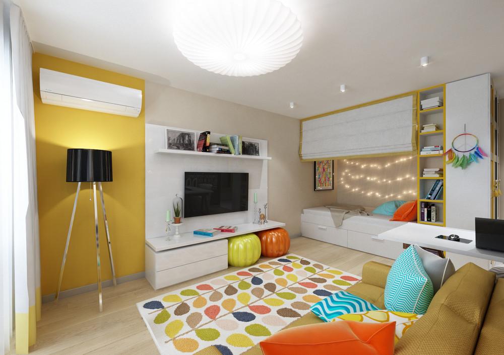 Красочный дизайн интерьера маленькой квартиры
