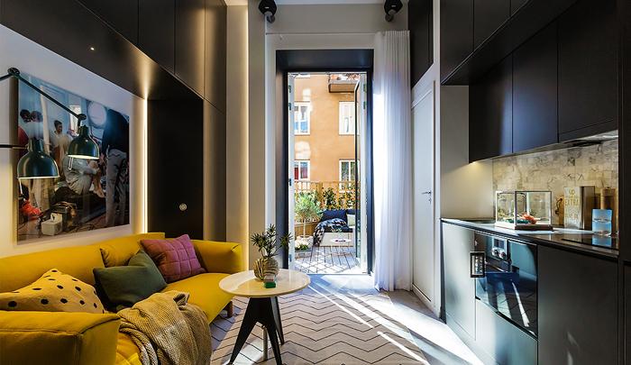 Интерьер маленькой квартиры-студии в Швеции