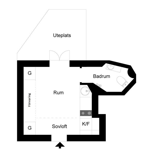 Планировка маленькой квартиры-студии в Швеции