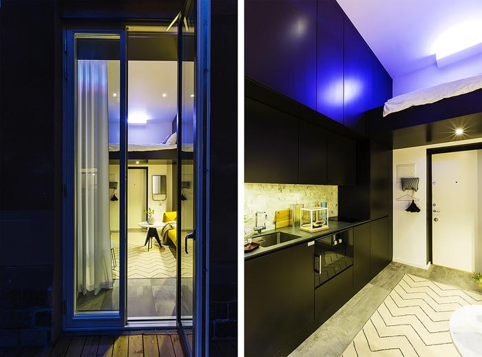 Дверь на балкон маленькой квартиры-студии в Швеции