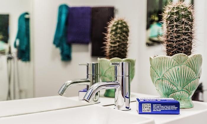 Кактусы в ванной маленькой квартиры-студии в Швеции