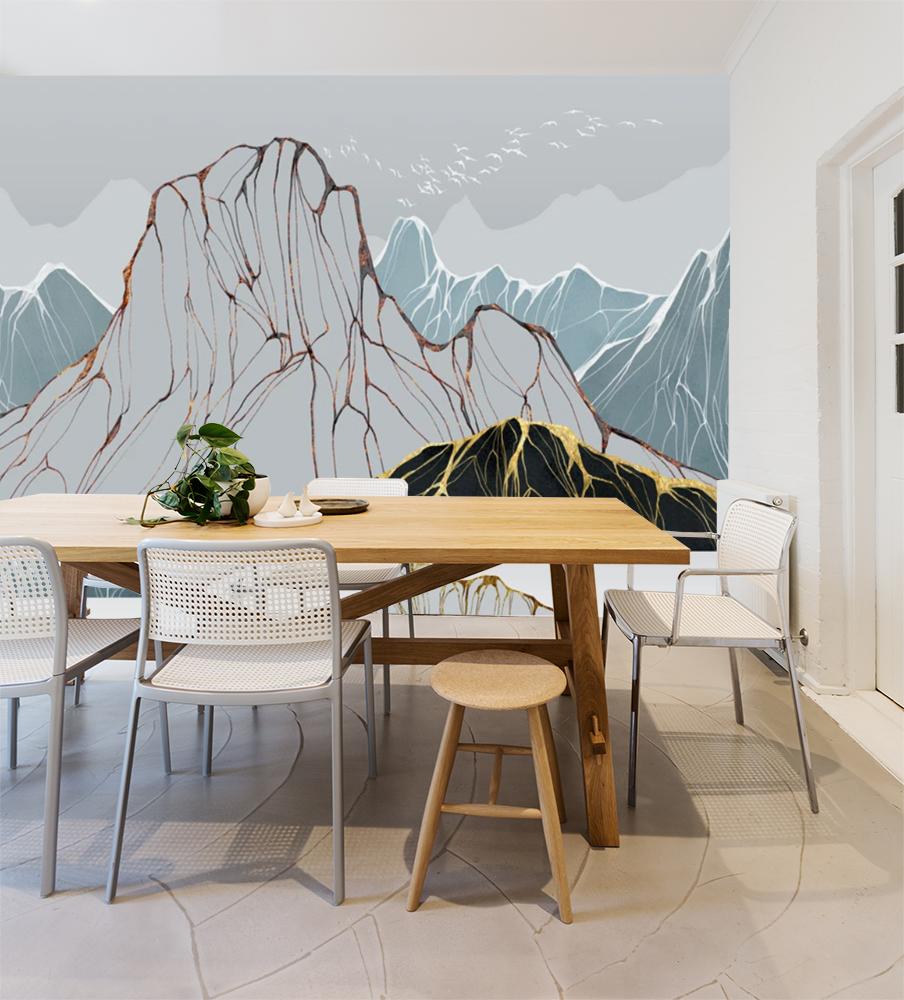 Фотообои для маленькой кухни рисунок горы