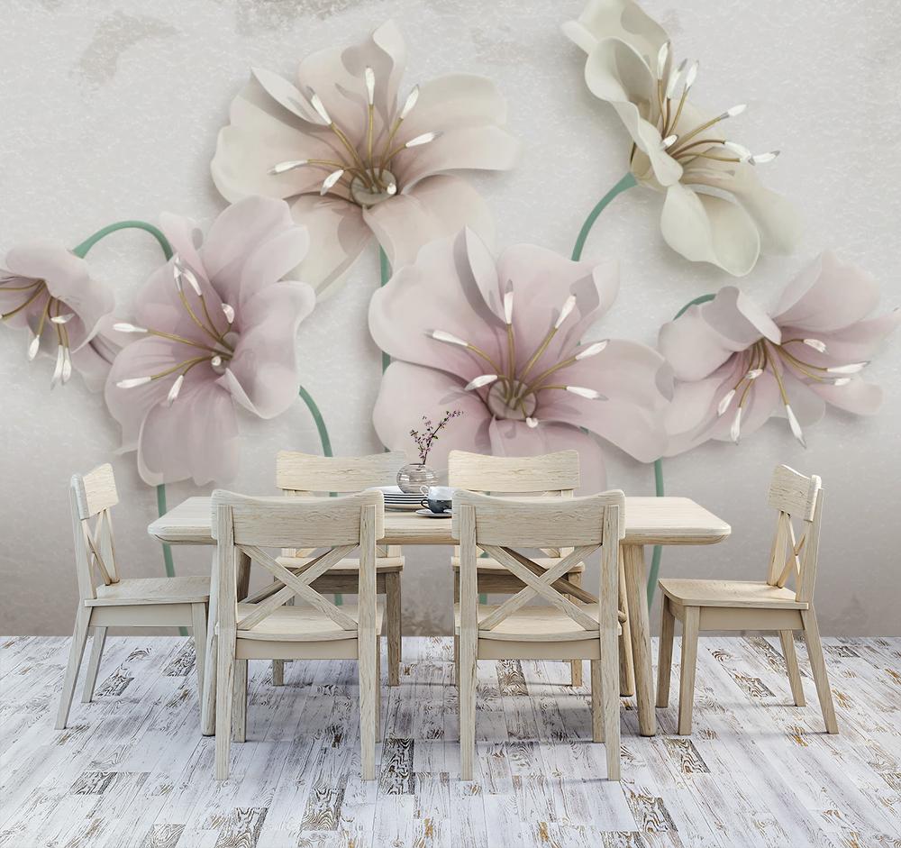 Фотообои для маленькой кухни рисунок нежные цветы