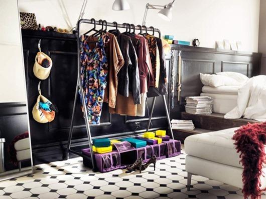 Открытый гардероб в интерьере