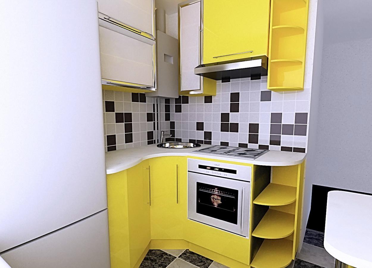Современный кухонный гарнитур в лимонном цвете