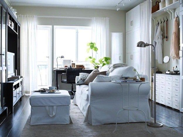 Шторы в интерьере спальни гостиной