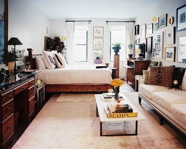 Светлая спальня гостиная
