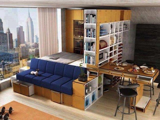 Функциональное зонирование в спальне гостиной