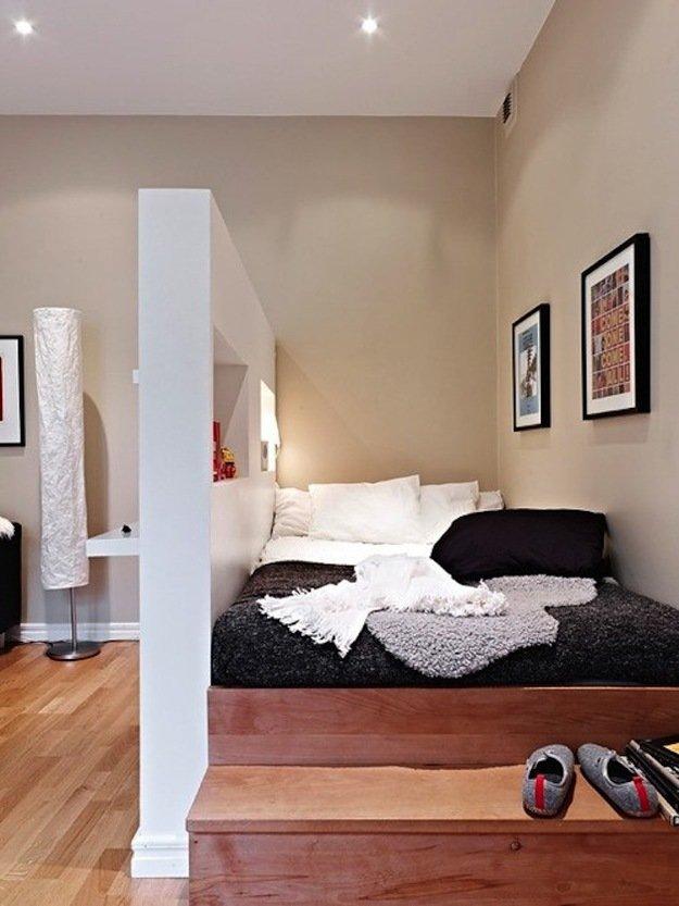 Спальное гостиная с перегородкой
