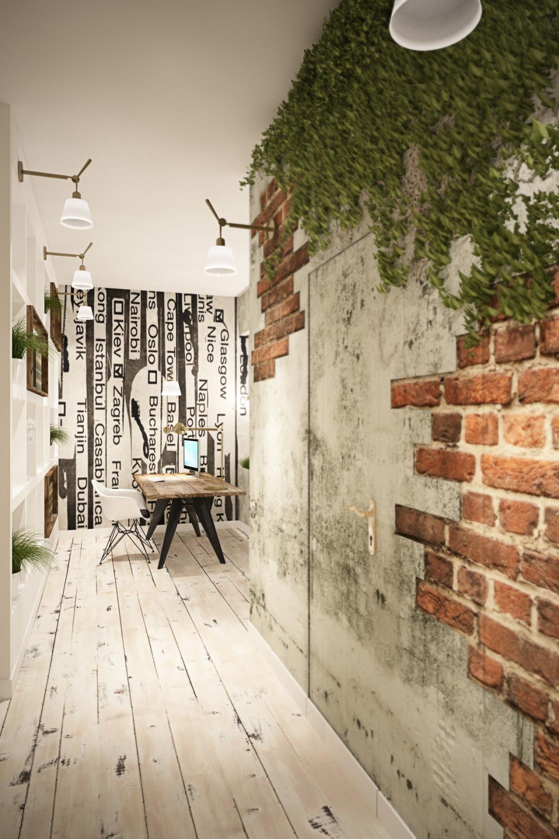 Кирпич и бетон в отделке стен гостиной комнаты