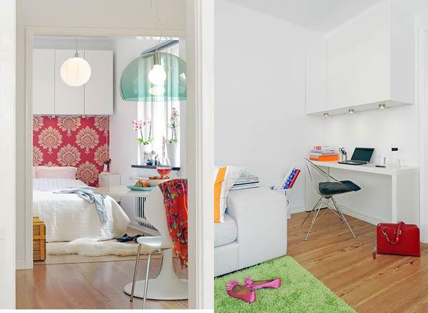 Интерьер спальни и кабинета маленькой квартиры
