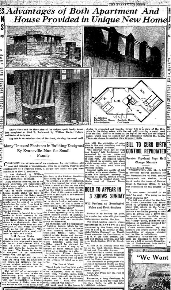 Дизайн мини-дома.  Вырезка из газеты времён постройки дома
