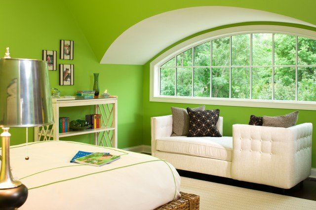 Интерьер комнаты в салатовом цвете
