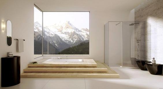 Видовая ванная в белом цвете