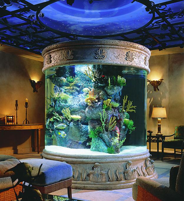 Круглый аквариум в гостиной