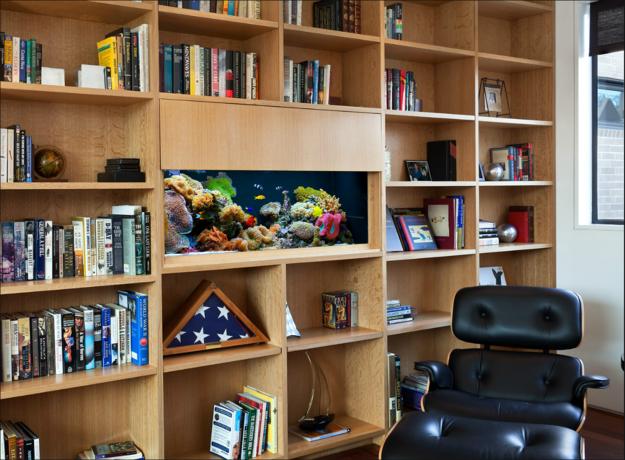 Аквариум в стеллаже для книг