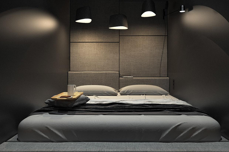 Дизайн спальни для маленькой квартиры в стиле лофт