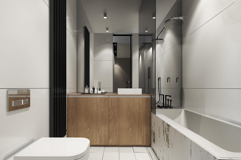 Дизайн ванной для маленькой квартиры в скандинавском стиле - фото 2