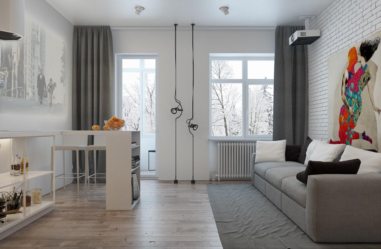 Дизайн для маленькой квартиры в пастельных тонах