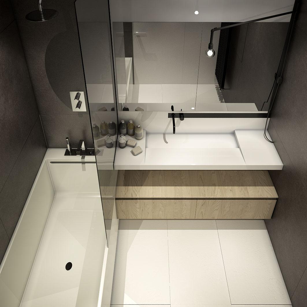 Дизайн ванной для маленькой квартиры в стиле лофт - фото 2