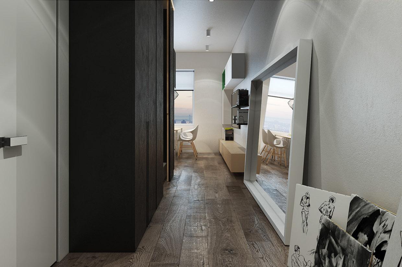 Дизайн коридора для маленькой квартиры в стиле лофт