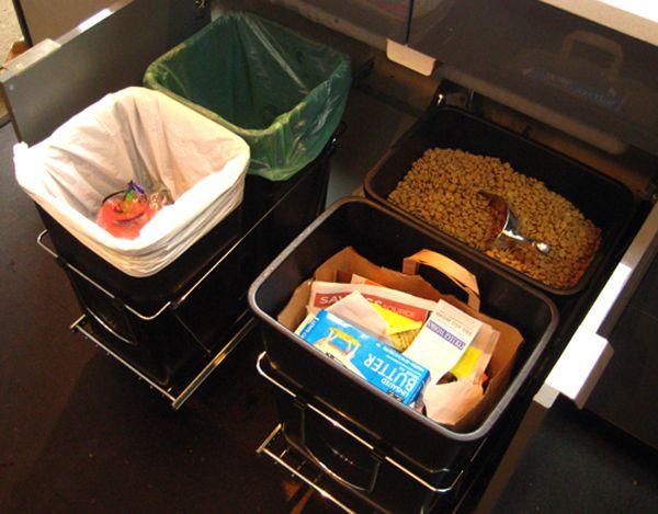 Выдвижные контейнеры для мусора и корма