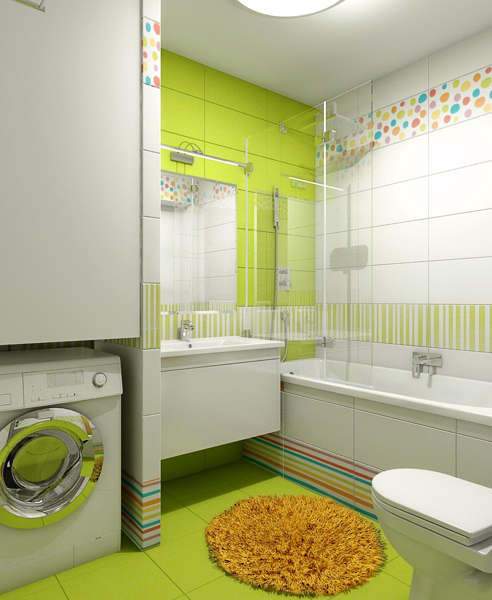 Идея для маленькой ванной комнаты - встроенная стиральная машина