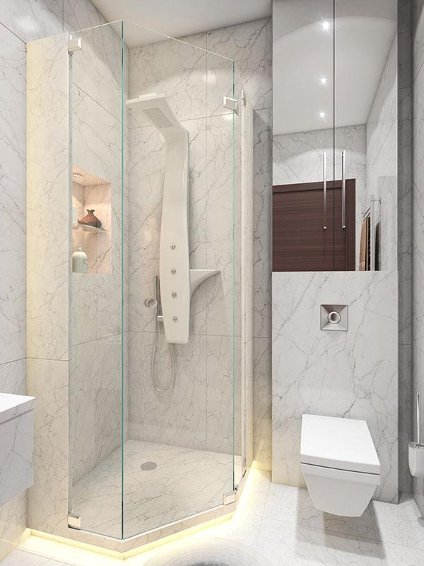 Идея для маленькой ванной комнаты - нестандартная душевая кабина