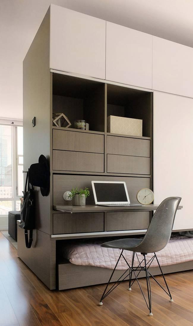 Рабочее место в интерьере маленькой квартиры