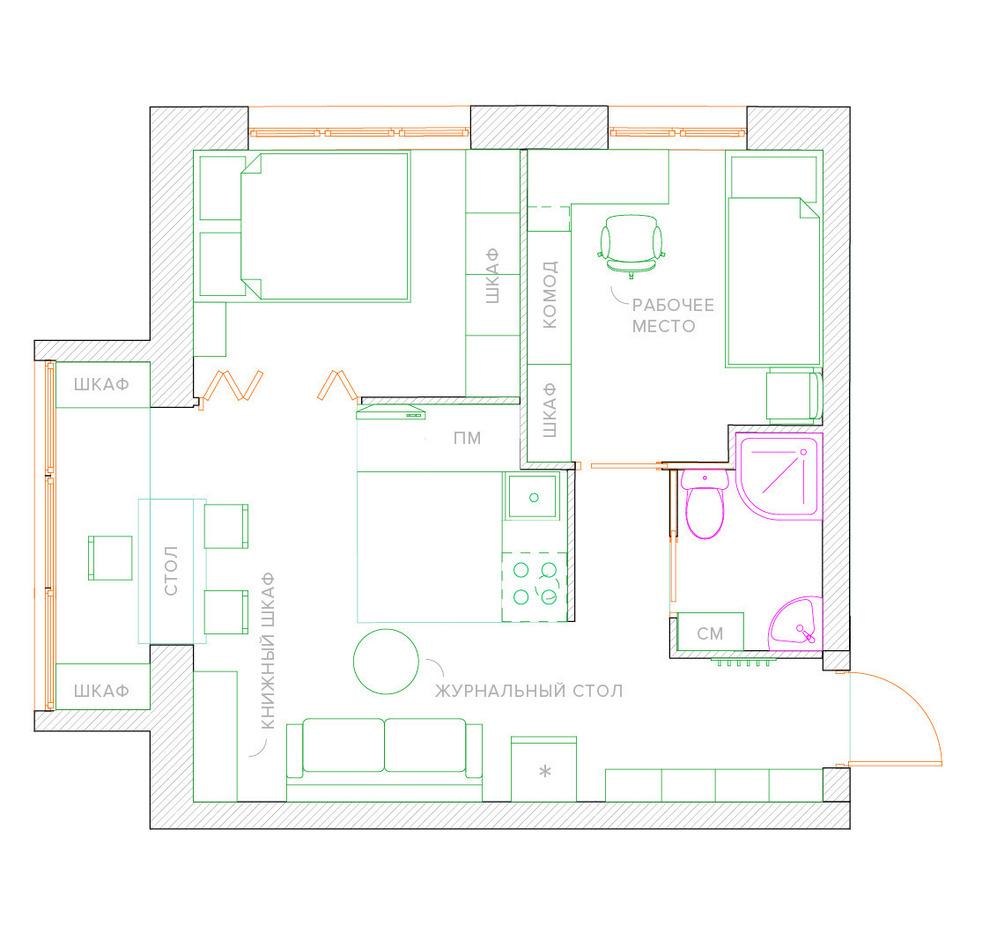Перепланировка однокомнатной квартиры в квартиру со спальней и детской