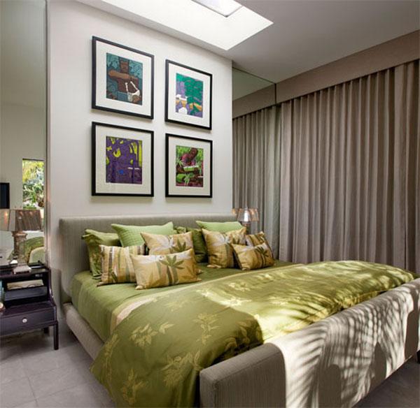 Оливковые тона в оформлении спальни