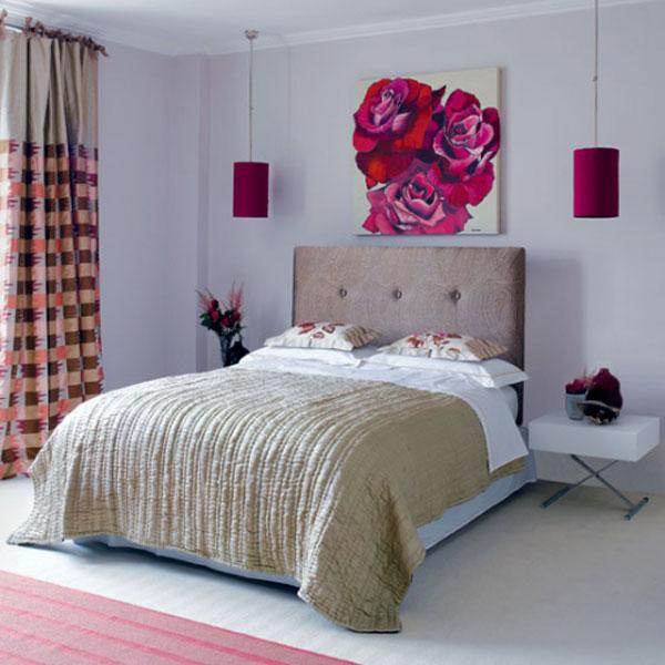 Бежевый и розовый в оформлении спальни