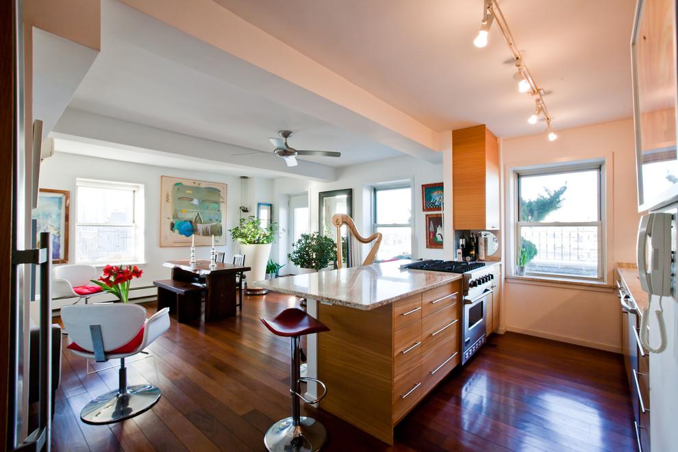 Столовая и кухня квартиры с видом на Бруклин