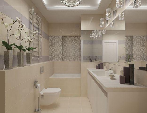 Крупная плитка в ванной