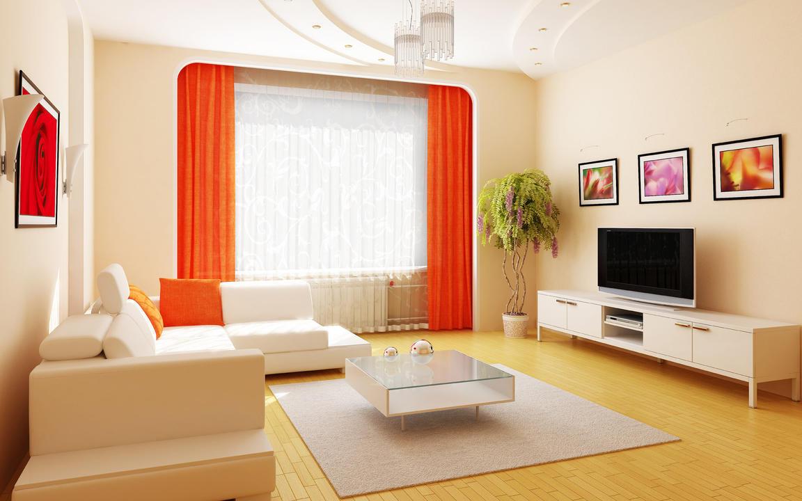 Интерьер просторной гостиной с яркими акцентами