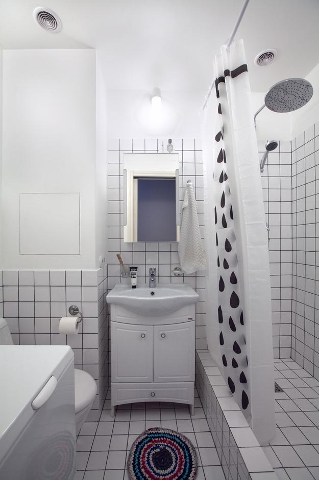 Интерьер ванной в чёрно-белом цвете