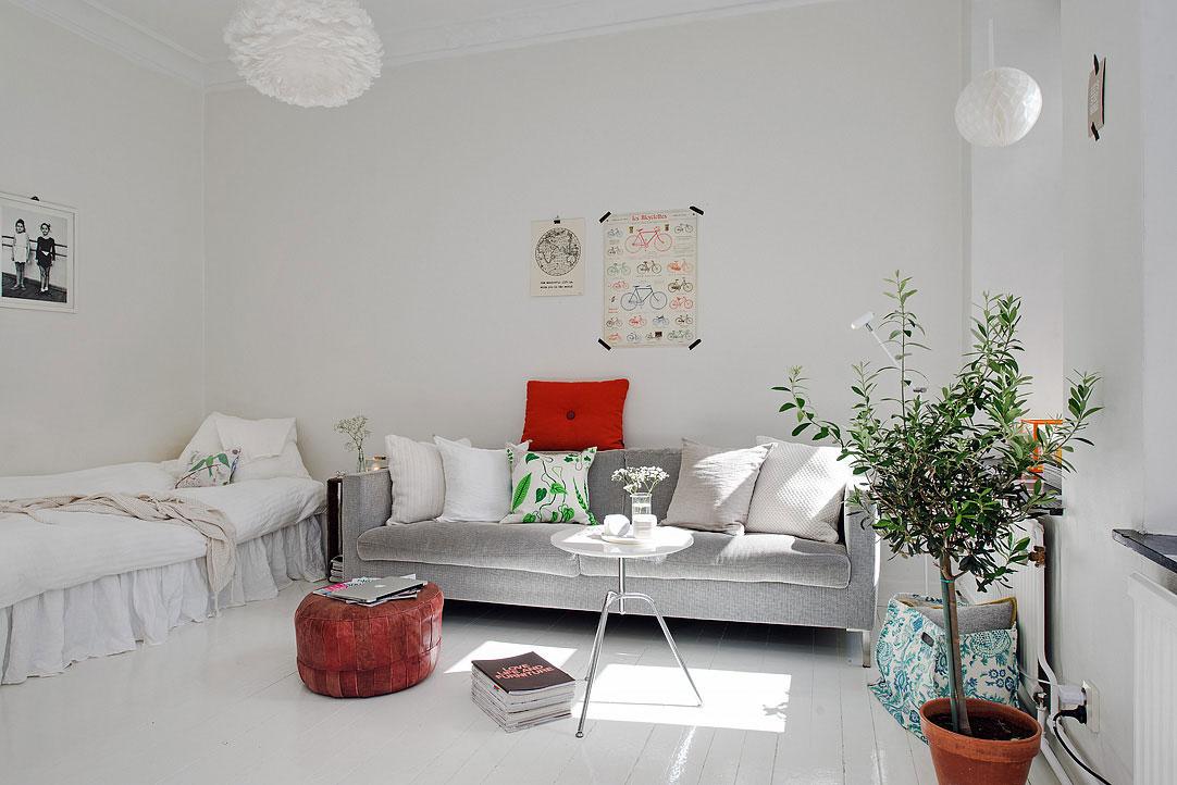 Интерьер маленькой квартиры в белом цвете
