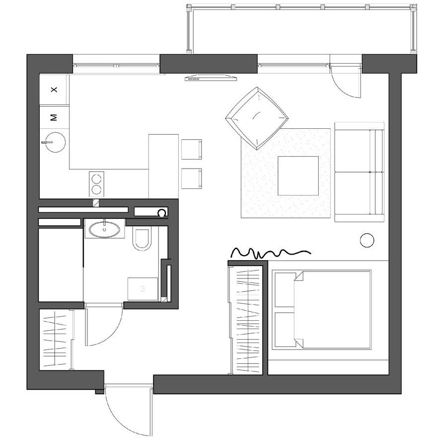 дизайнерская планировка однокомнатной квартиры