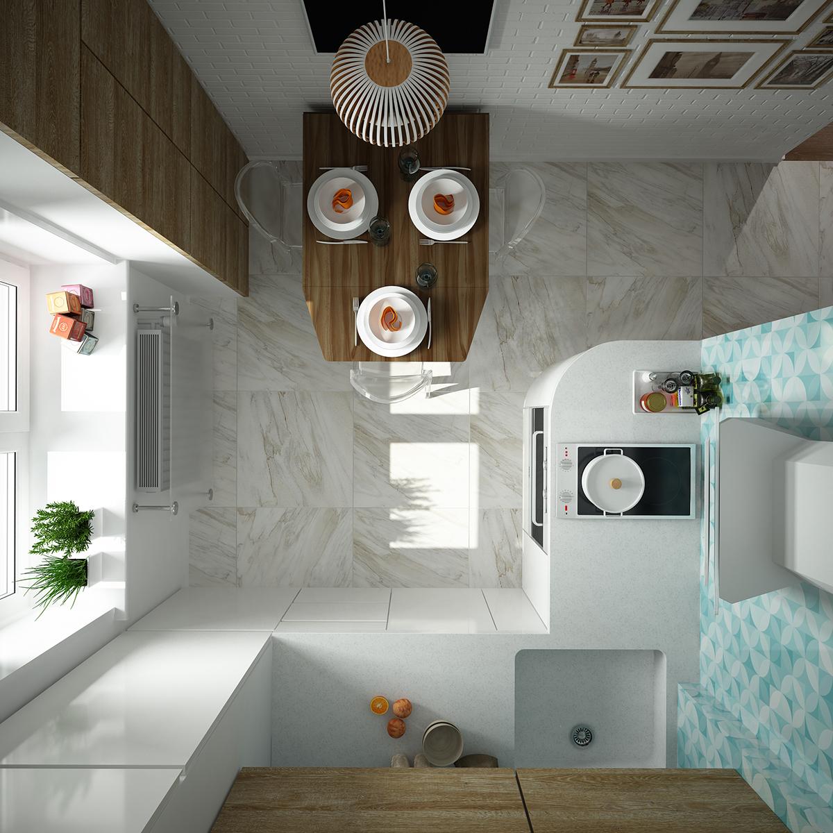 Интерьер для маленькой кухни