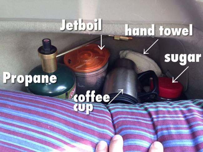 Интерьер дома на колёсах. А рядом с кроватью – ящик с чашкой, сахаром, кофе, полотенцем, и другими подобными вещами