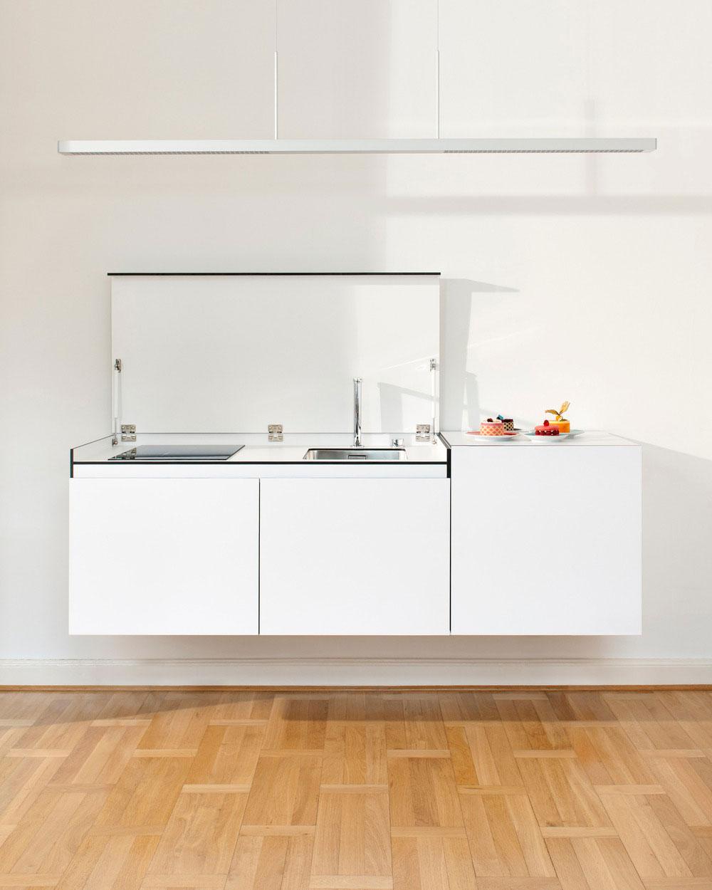 Стильный дизайн кухни небольших размеров - открытая раковина