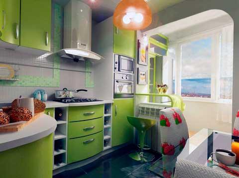 Дизайн совмещенных кухни и маленького балкона