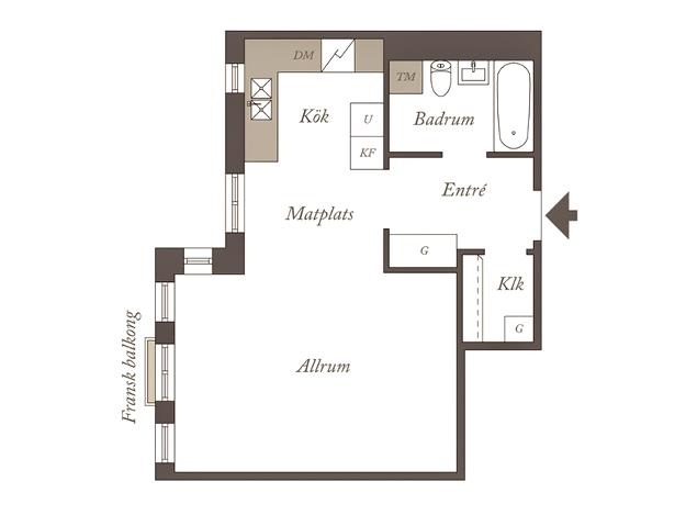 Дизайн интерьер квартиры-студии в белых тонах