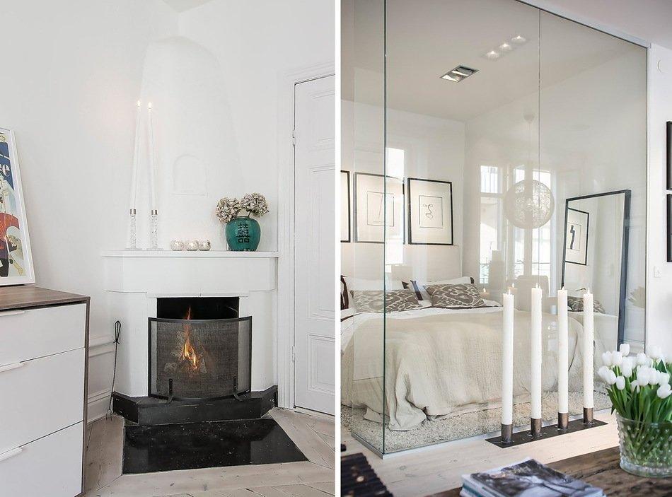 Камин и спальня за стеклом