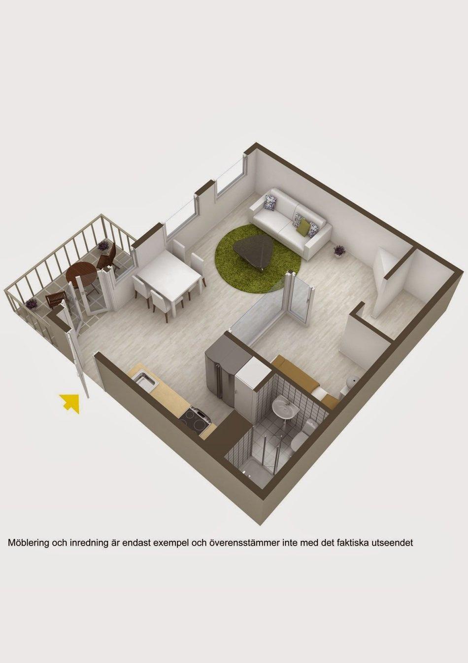 Макет квартиры-студии в белом цвете